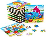 BleuZoo 12 Mini Wooden Puzzles for Kids - Party Favors for Children Toddlers Preschool - Dinosaur, Train, Dolphin, Car, Airplane, School Bus, Lion Etc (12 Jigsaw Puzzles)