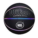 Wilson WTB2027ID07 Balón de Baloncesto, Luminous, Interior y Exterior, Cuero Compuesto, Tamaño Oficial 74.9Cm, Canales Iridiscentes