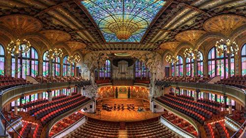 OKOUNOKO 1500 Piezas Rompecabezas, Palacio De La Música De Barcelona, Decoración para El Juego De Juguetes para El Hogar, Gran Regalo Educativo, 87X57Cm