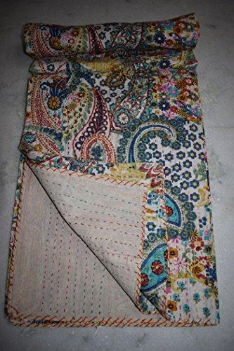 Handgemaakte Paisley Bedrukte Kantha Quilt Kantha Bedding, Indische katoenen sprei, Boheemse Kantha Gooi, Bloemen Bed Cover