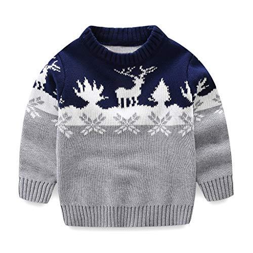 SUDADY Maglia Natale Bambina Costume Felpa Bambino, Felpe Tumblr Corte Bambini Cardigan Maglione Invernale Renna Costume Ragazzi Ragazza Sweatshirt Pullover Caldo Abbigliamento Cappotti/Grigio,5 Anni
