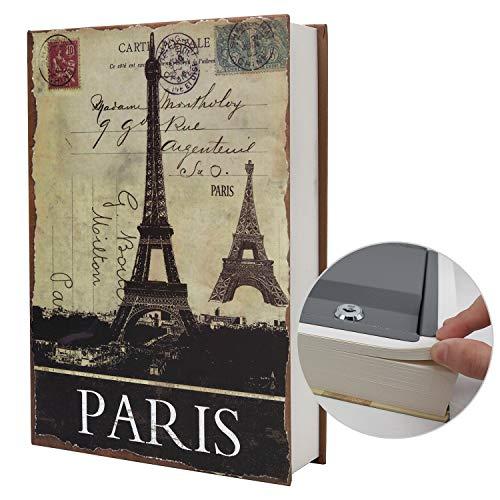 Libro de transferencia de papel auténtico seguro para joyas, dinero y dinero en efectivo, hueco con compartimento oculto, llaves y cerradura de combinación (llave, París)