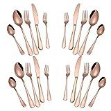 Gold Silverware Set, 20-Piece Stainless Steel Flatware Set, Kitchen Utensil Set Service...