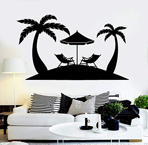 JUDING Beach Pergola Vinyl Wall Decal Palm Tree Water Park Relaxation Tropical Tree Sticker House Decoration Removable Art Mural 42x72cm
