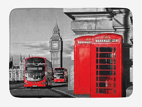 ABAKUHAUS Europa Tapete para Baño, Londres Retro Cabina de teléfono, Decorativo de Felpa Estampada con Dorso Antideslizante, 45 cm x 75 cm, Rojo Gris