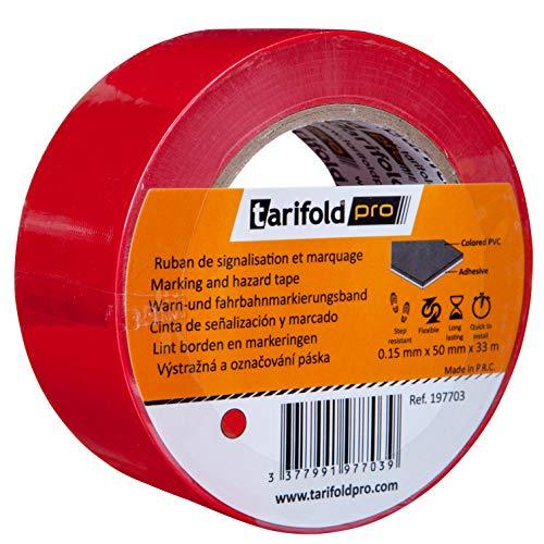Tarifold 1 Nastro Adesivo per Pavimento, Segnalazione, Sicurezza, Colore Rosso-Rotolo 50 mm x 33 m