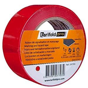 Tarifold 1 Cinta Adhesiva Suelo, Señalización, Seguridad, color Rojo-Rollo 50mm x 33m, 50 mm x 33 M