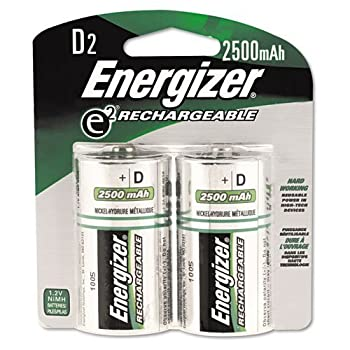Energizer NH50BP-2 Rechargeable D Cell Batteries NIMH D Battery  2 Count  NH95BP-2 0.75  Height 3.25  Width