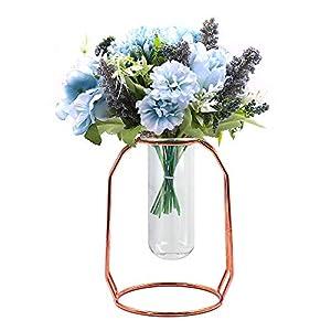 ANZOME – Ramo de Flores Artificiales de Seda Realista, decoración de peonías Falsas con florero, Flores de Seda Falsas…