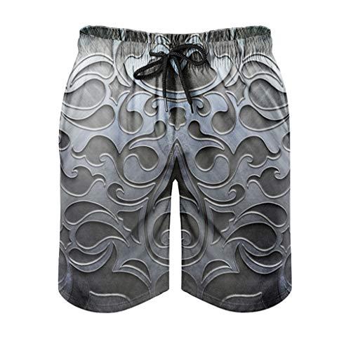 Dessionop Pantalones cortos de playa para hombre, de hierro gris, diseño floral, con forro de bolsillo, color blanco, 2XL