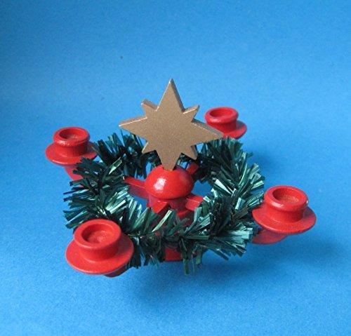 Adventskranz Leuchter mit Kranz für Puppenhaus Miniaturen Handarbeit Erzgebirge