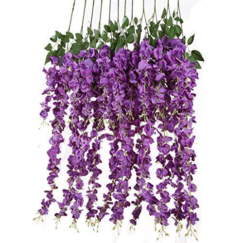 Veryhome 12 Piezas 3.6 ft Flores Artificiales Falsas Wisteria Vine Flor de Seda para Decoraciones de Boda Home Decoracion Garden Party Decor Morado