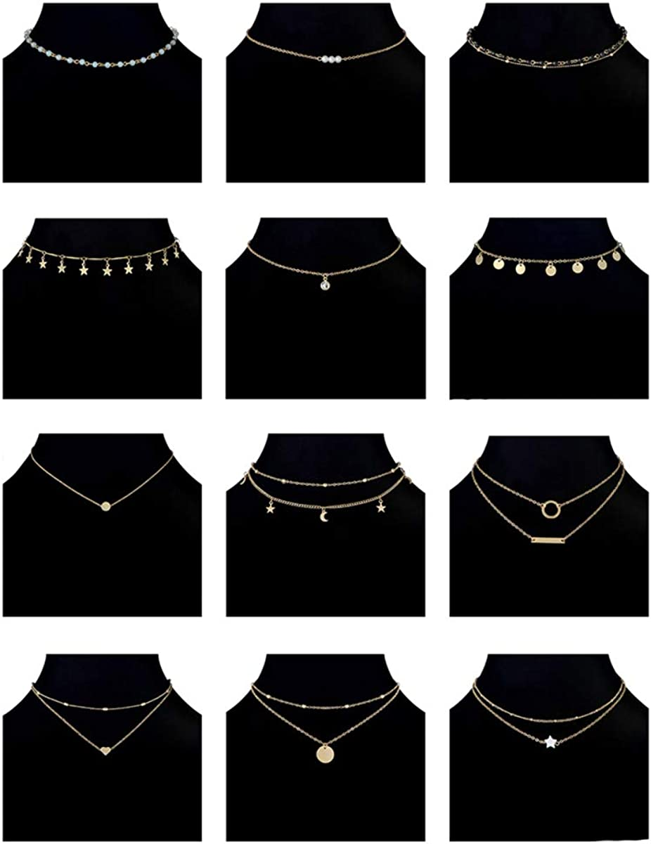 Ofeiyaa 12pcs Chain Gold Bead Necklace Coin Moon Star Pearl Pendant Chain Choker Multilayer Necklace Leather Cord Set for Women Men Adjustable Gold Tone