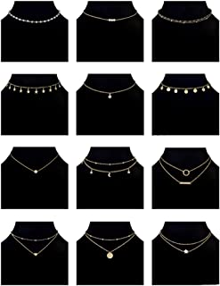 Ofeiyaa 12/16pcs Chain Gold Bead Necklace Coin Moon Star Pearl Pendant Chain Choker Multilayer Necklace Leather Cord Set for Women Men Adjustable Gold Tone