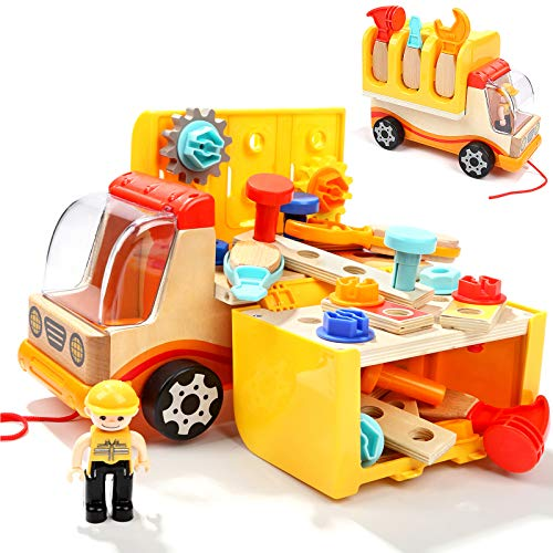 TOP BRIGHT Toddler Tool Toys for 2 3 Year Old Boy Gifts Kids Tools Set Construction Truck Toys