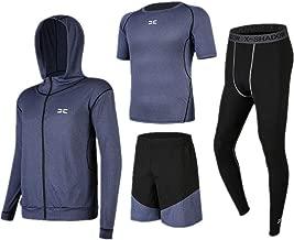 Trainingskleidung für Herren Kurzarm T-Shirt Shorts Männer Gym Kleidung 4 Stück Sets mit Outwear Kompression Enge Hosen für Radfahren Laufen Gym Fitness (Color : Black Blue, Size : XXL)
