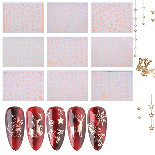 AUXSOUL Decorazioni Unghie Nail Art Adesivi, Adesivi per Unghie Natale Stickers Unghie Nail Art Water Decals Nails, 9 Fogli