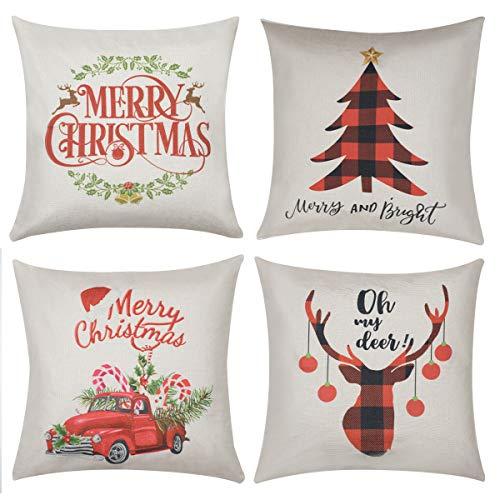 Horuhue Fundas de Almohada navideñas, 4 Unidades, 45,7 x 45,7 cm, Fundas de Almohada Decorativas para sofá, Cama y Coche