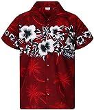 King Kameha Funky Camicia Hawaiana, Fiori, Stampa sul Petto, Rosso, 4XL