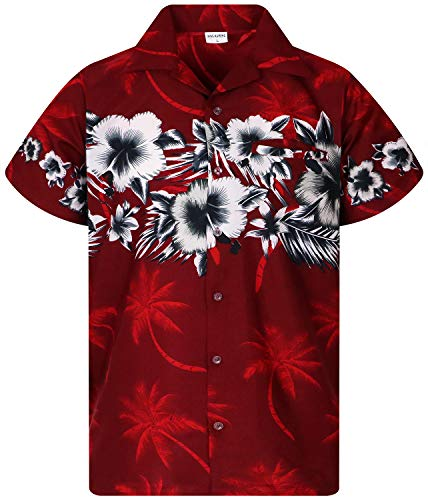 King Kameha Funky Hawaiihemd, Kurzarm, Flower Chestprint, Rot, XL