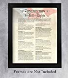 'Constitution of the USA & Bill of Rights'- Patriotic Poster Print. 11 x 14' Wall Decor-Ready To Frame. Ivory Parchment Replica w/Flag. American Decor for Home-Office-School. Knowledge on Display!