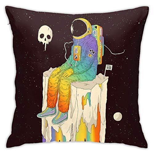 Fundas de Almohada de poliéster de algodón Colby Keats Astronaut Trippy Space Throw Pillow Cases Cotton Polyester Cushion Cover Cases Pillowcases Sofa Home Decor 18x18 Inch (45x45cm)