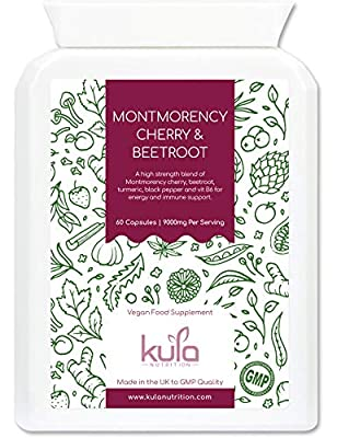 Montmorency Cherry & Beetroot Food Supplement - 60 Capsules - Vegan Sour Cherry & Beetroot Extract Formula with Black Pepper and Turmeric and Vitamin B6 - Kula Nutrition - Vegetarian - Made in the UK.