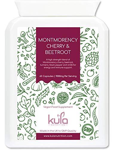 Montmorency Kirsche & Rote Beete Nahrungsergänzungsmittel - 60 Kapseln – Sauerkirsche & Rote Beete Extrakt mit Schwarzem Pfeffer, Kurkuma und Vitam B6 - Für Vegetarier und Veganer geeignet.