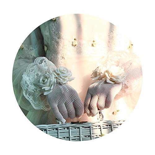1 Paar Vrouwen Party Bow Kant Elegant Met Pols Rose Bruiloft Handschoenen Kant Gehaakte Openwork Handschoenen Getrouwde Bruiden