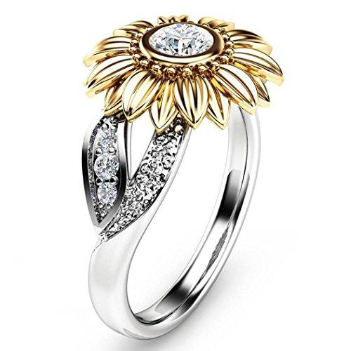 Toamen Anillo Floral De Plata De Dos Tonos Exquisito Para Mujer Joya Redonda De Girasol De Oro Diamante (US size:7, A)