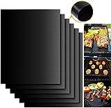 Cookey Tapis de Cuisson, Set de 5 Tapis de Cuisson pour Barbecue et Four- 40cm*33cm Feuilles Anti-adhérent de BBQ et Feuilles de Cuisson réutilisable pour les barbecue à gaz, Charbon ou électriques