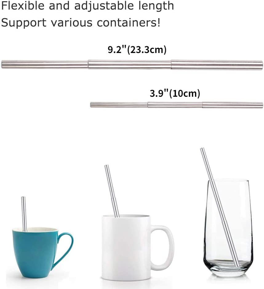OMUKY Stainless Steel Straw Collapsible Straws Portable Drinking Metal Straws with Aluminum Key-Ring Case Telescopic Cleaning Brush for Travel