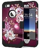 Coque IPhone SE 2016, coque iPhone 5s, plastique dur antichoc + coque de protection intégrale antichoc pour iPhone SE 1ère génération / 5s / 5 - fleurs violettes royales