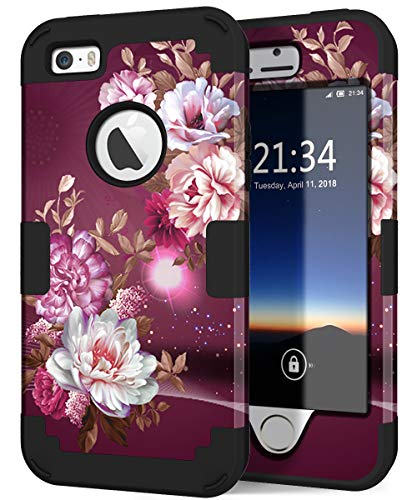 Hocase iPhone SE 2016 Case, iPhone 5s Case,Heavy Duty Shockproof Hard Plastic+Silicone Rubber Bumper Dual Layer Full-Body Protective Case for iPhone SE 1st Generation/5s/5 - Royal Purple Flowers