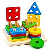 Giocattolo per bambini 1-3 anni, Giocattoli sensoriali Montessori per bambini Ragazzi Ragazze Età 2-7 Regalo Blocchi impilabili a forma di puzzle in legno per bambini di 4-5 6 anni