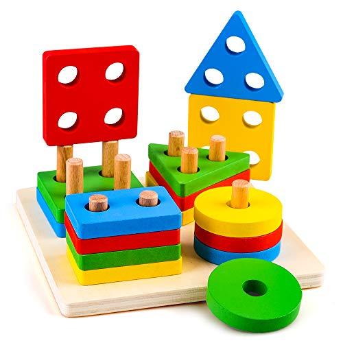 Sheia Juguete de 1-3 años Montessori Aprendizaje sensorial Juguetes para niños niñas 2-7 años Regalo de cumpleaños Rompecabezas de Madera Clasificador de Formas Bloques apilables para bebés de 4 5 6