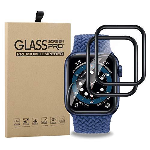 Young & Min 2 Pack Cristal Templado para Apple Watch Series SE/6/5/4 44mm, [3D Curvo] [Cobertura Completa] Protector de Pantalla para iWatch 44mm Series SE/6/5/4