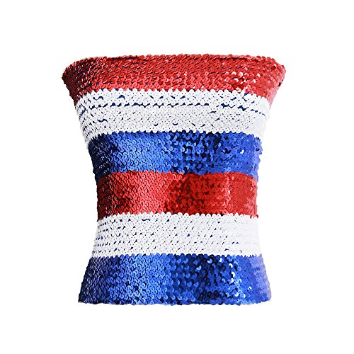 Novia's Choice Women Sequin Off Shoulder Tube Top Stretchy Chest Wrap Party Blouse Performance Vest(Blue&Red&White)