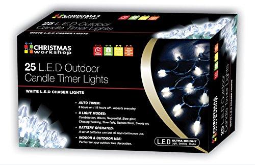 Christmas Workshop 76400 Guirlande lumineuse 25 LED à piles avec minuteur Blanc brillant