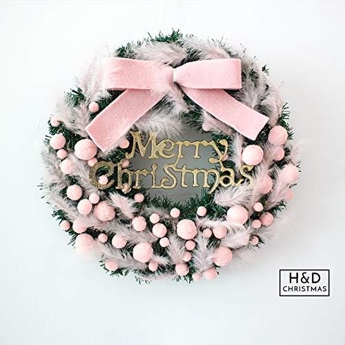 GE&YOBBY roze kunstkerstkransen, dennenslinger met pluim Instagram stijl muurdecoratie met strik en ballen en kerstbrief voor bar restaurant