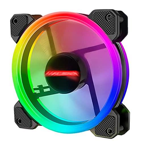 Coolmoon Ventilador de levitación magnética de alta presión de bajo ruido, 12 cm, RGB pequeño, 6 pines, ventilador de refrigeración para PC (1 ventilador)