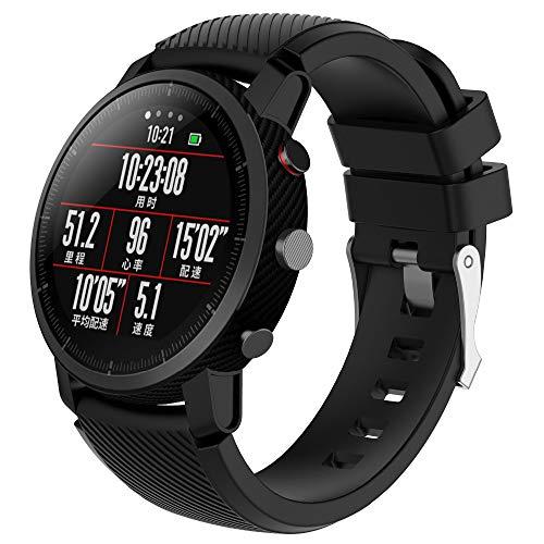 Saisiyiky Banda De Reloj De Caucho De Silicona De Reemplazo Suave Compatible Con 22mm (Negro)