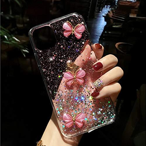LIUYAWEI Funda de Silicona Suave 3D Glitter Pearl Butterfly para iPhone 12 11 Pro MAX XR X XS 6s 7 8 Plus Funda para Samsung S8 S9 S10, Rosa, para iPhone 6 6S
