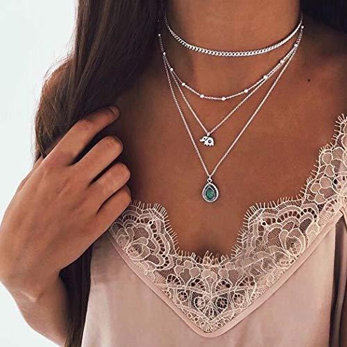 Jovono Boho Collares multicapa con cuentas de elefante turquesa turquesa collar cadena joyería para mujeres y niñas (plata)