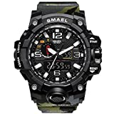 Bounabay Men's Military Digital Sport Watch Water Resistant Outdoor LED Back Light Display,Army