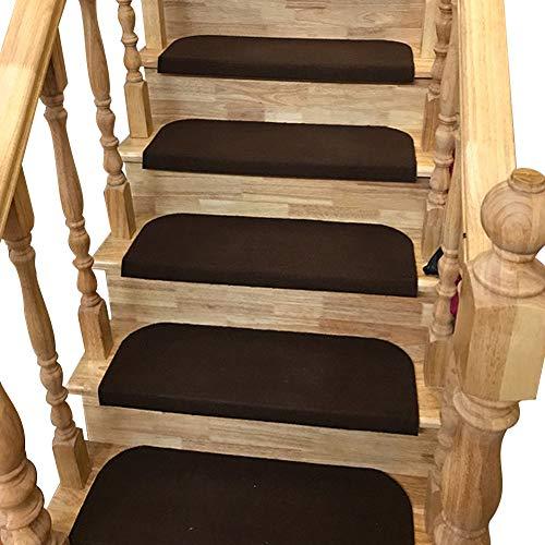 Y-Step - Set di 15 tappetini antiscivolo adesivi per scale, Velluto, Caffè, 45 x 23 cm