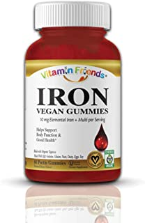 Vitamin Friends Adult Iron Gummies - Vegan, Organic, Kosher, Allergen Free Iron Gummy. Supports Healthy Iron Levels withou...