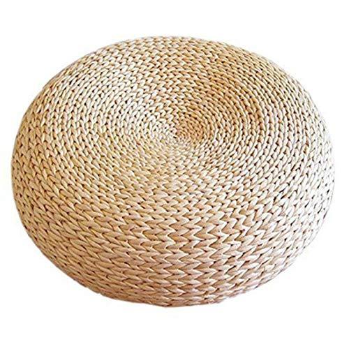 GLF Butt Pillow Seat Cushions - Natural Straw Round Ottoman Tatami Cushion Chair Cushion Floor Cushion Yoga Meditation Round Doormat Comfortable Relieves Tailbone Pressure