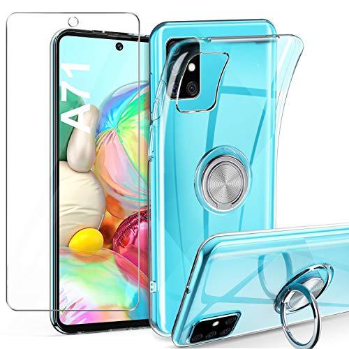 AROYI Carcasa para Samsung Galaxy A71+cristal templado, transparente silicona TPU con anillo de 360 grados soporte para el teléfono móvil soporte para los dedos soporte magnético para el coche funda