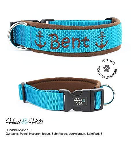 Hund&Hals Halsband 1.0 Handmade Hundehalsband aus Gurtband mit Neopren mit Namen individuell personalisiert, große Farbauswahl, Größenauswahl, Schriftarten